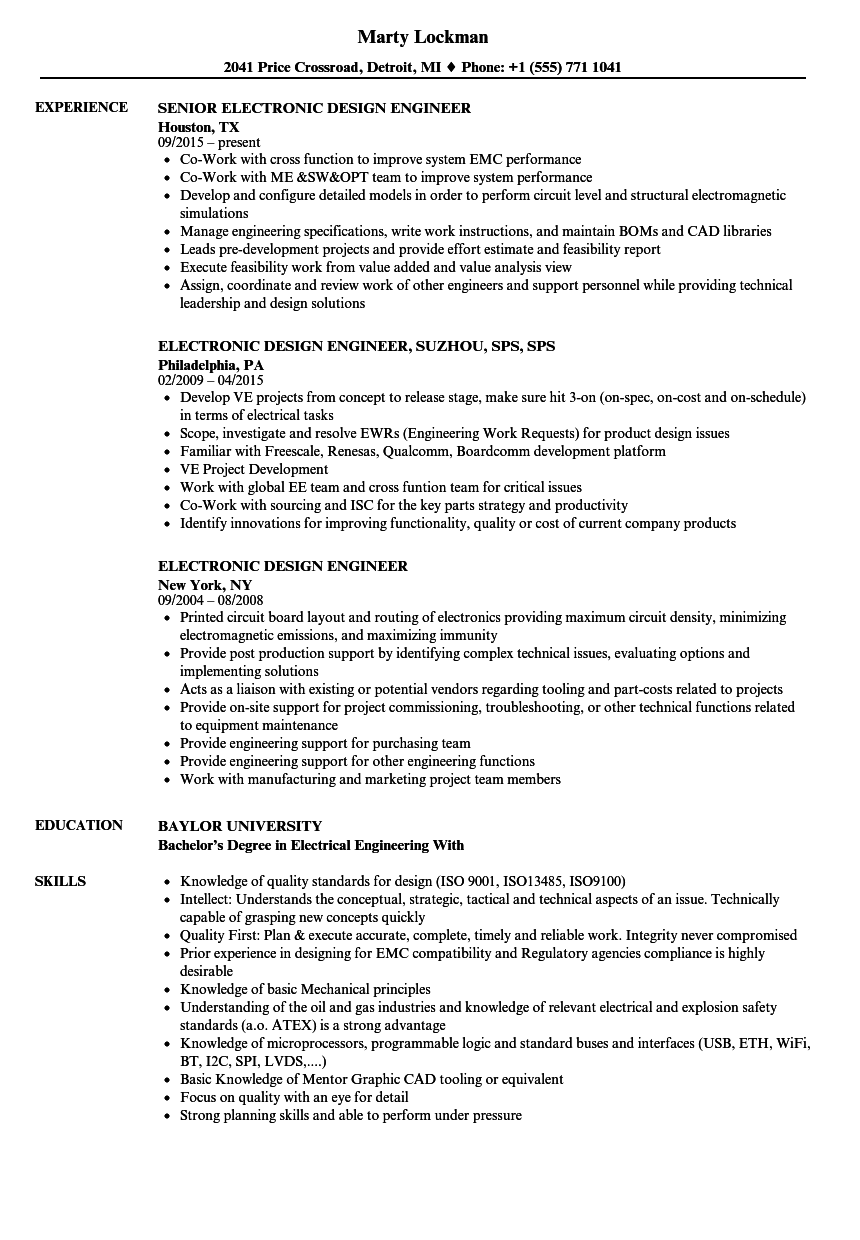 hight resolution of download electronic design engineer resume sample as image file