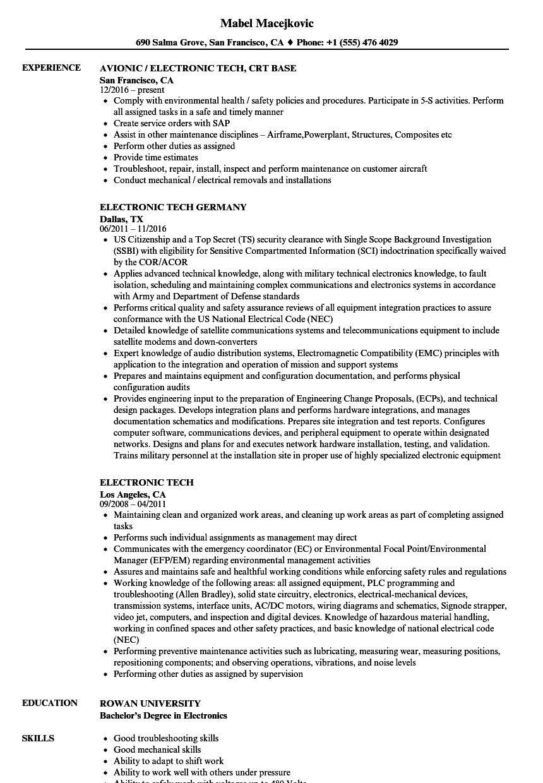 Download Electronic Tech Resume Sample As Image File