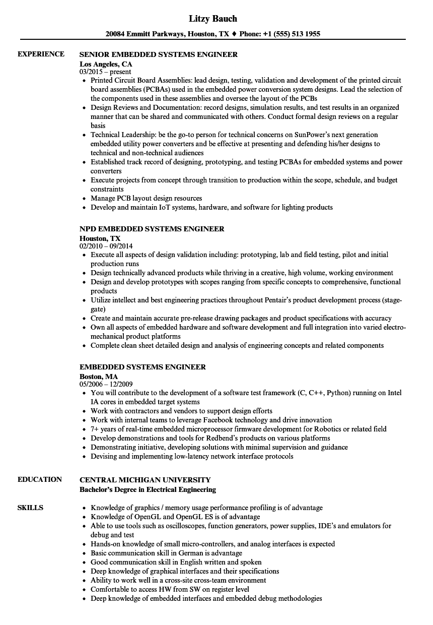embedded systems engineer resume samples