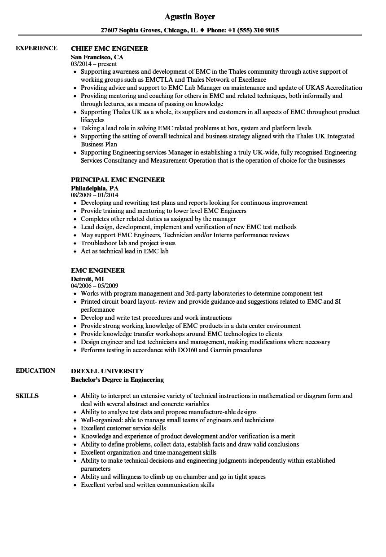 EMC Engineer Resume Samples  Velvet Jobs