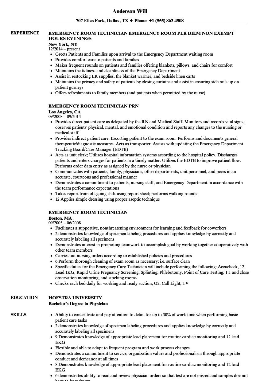 Emergency Room Technician Resume Samples Velvet Jobs Rh Velvetjobs Com Er Patient  Care Technician Resume Emergency