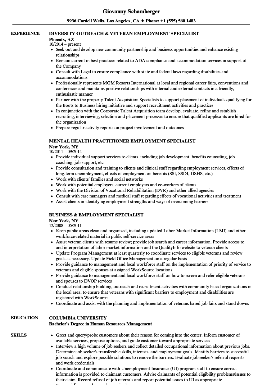 Employment Specialist Resume Samples Velvet Jobs