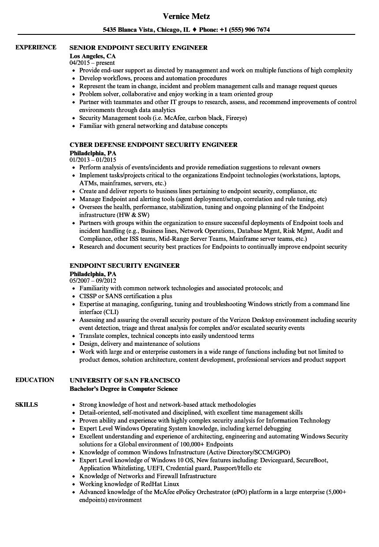 endpoint security engineer resume sample