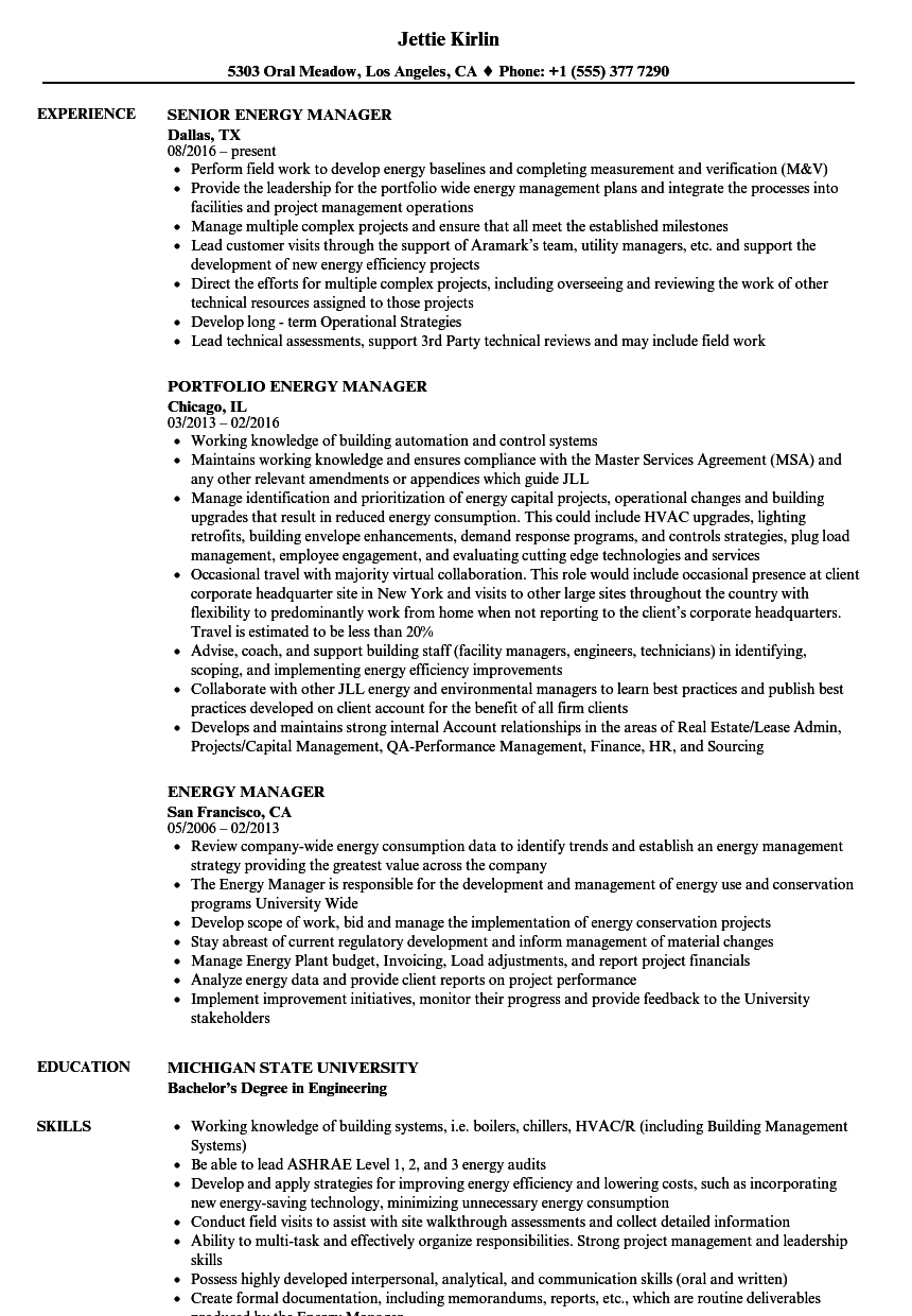 Energy Manager Resume Samples Velvet Jobs