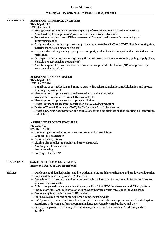 Download Engineer Assistant Resume Sample As Image File