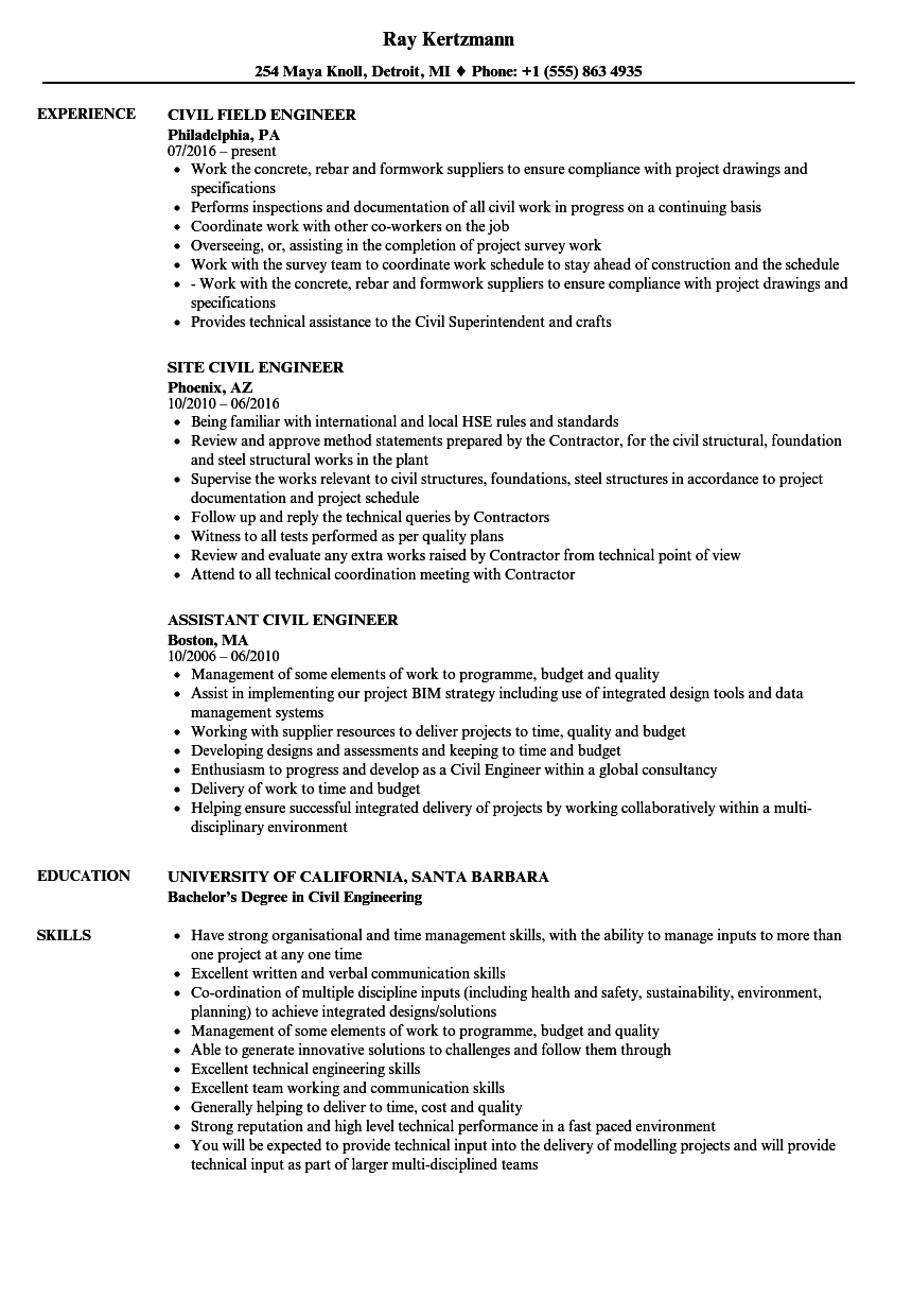 civil field engineer resume examples