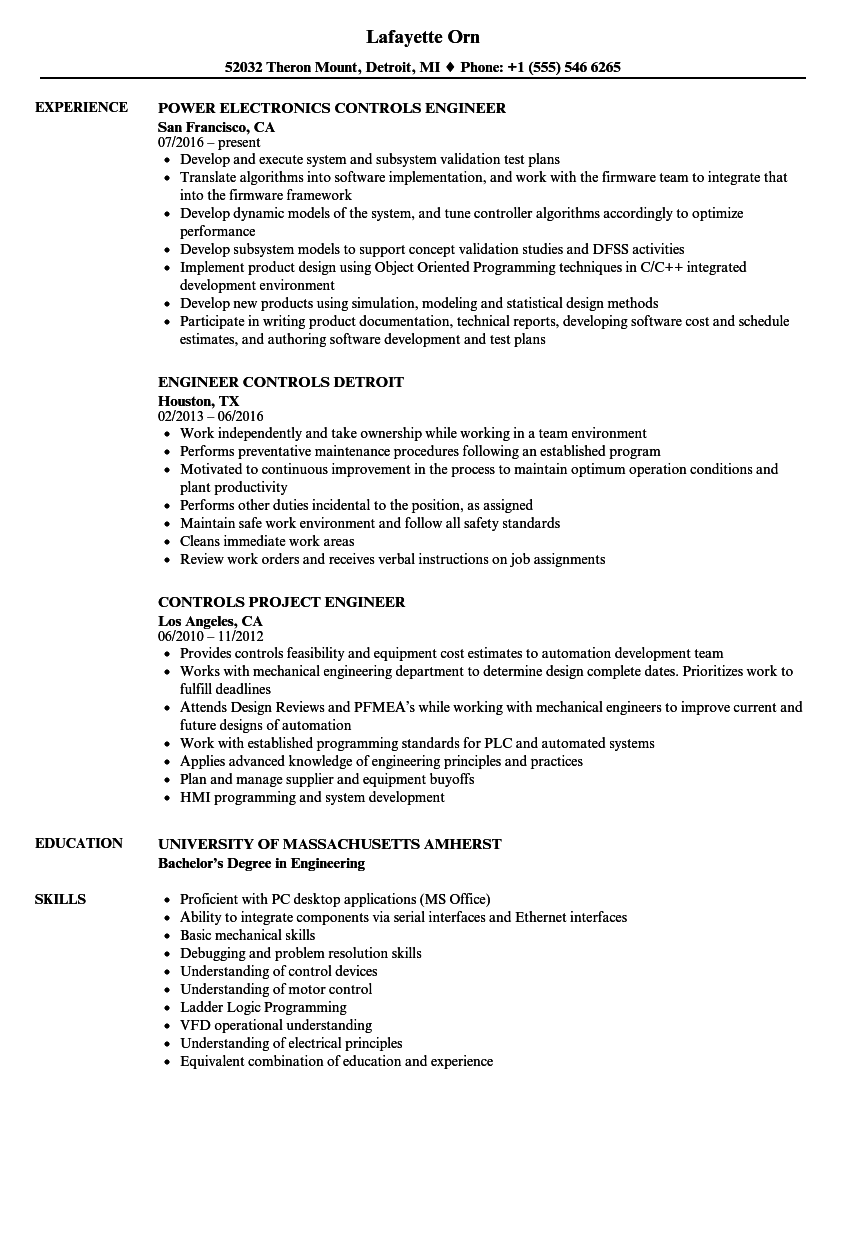 Download Engineer, Controls Resume Sample As Image File