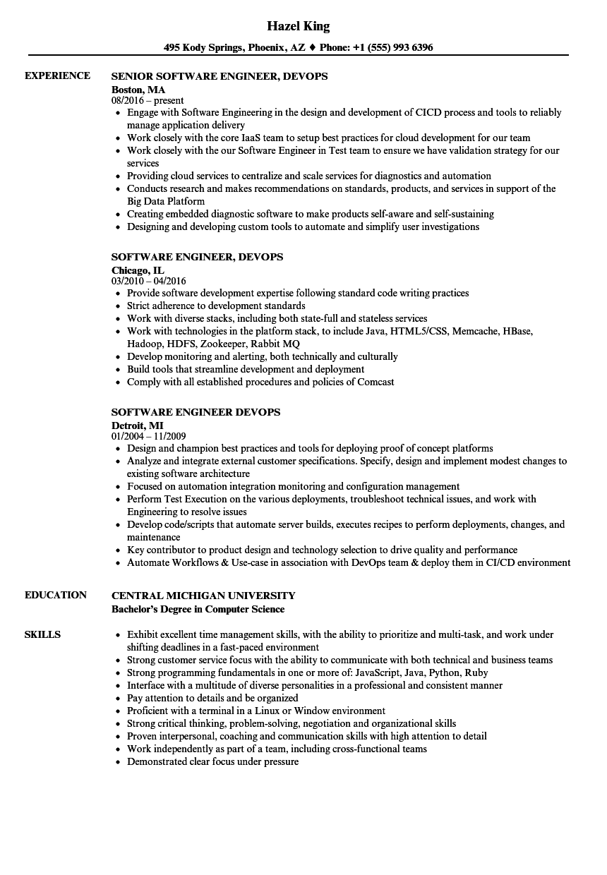 Engineer Devops Resume Samples Velvet Jobs