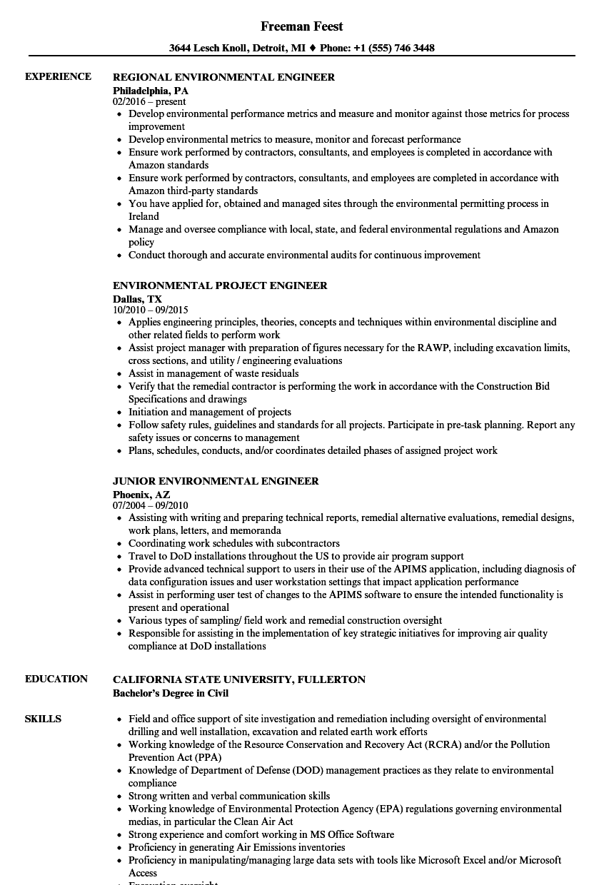 resume examples for environmental engineering