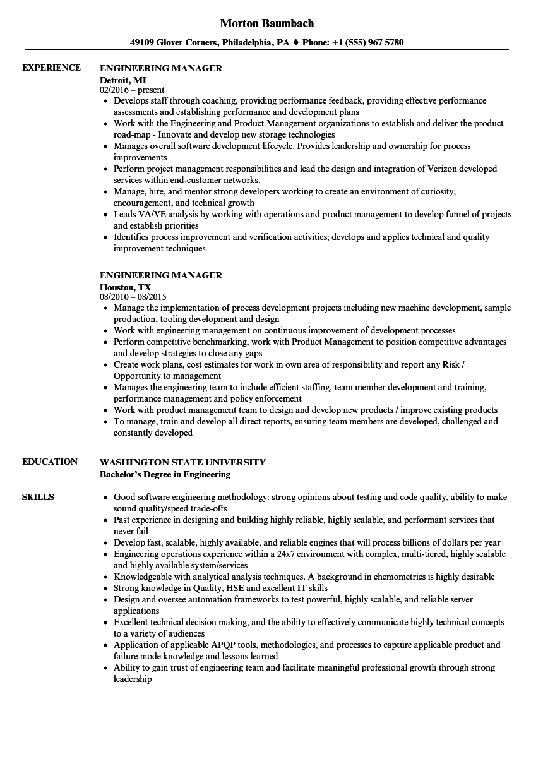 Engineering Manager Resume Samples  Velvet Jobs