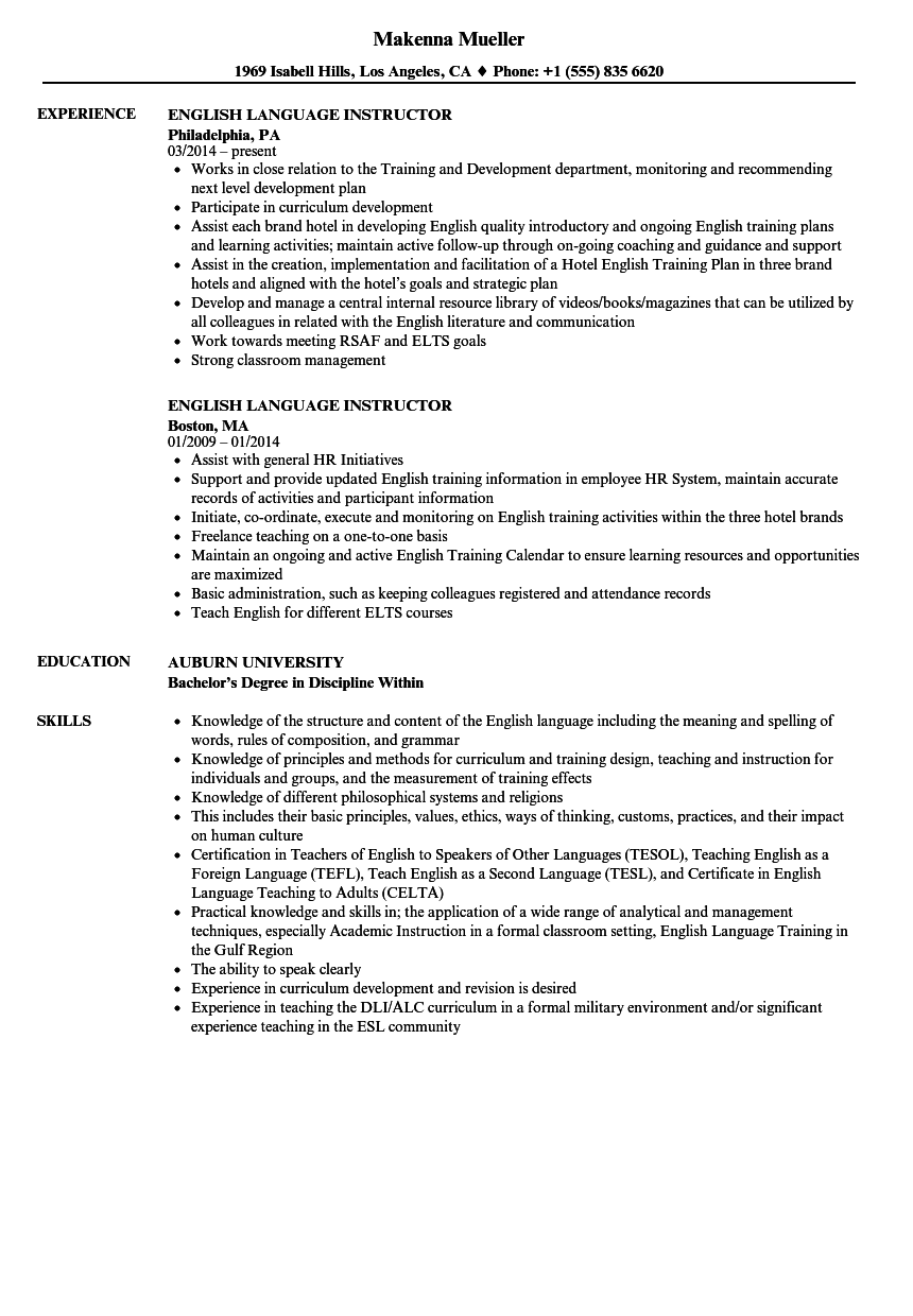 english instructor resume examples