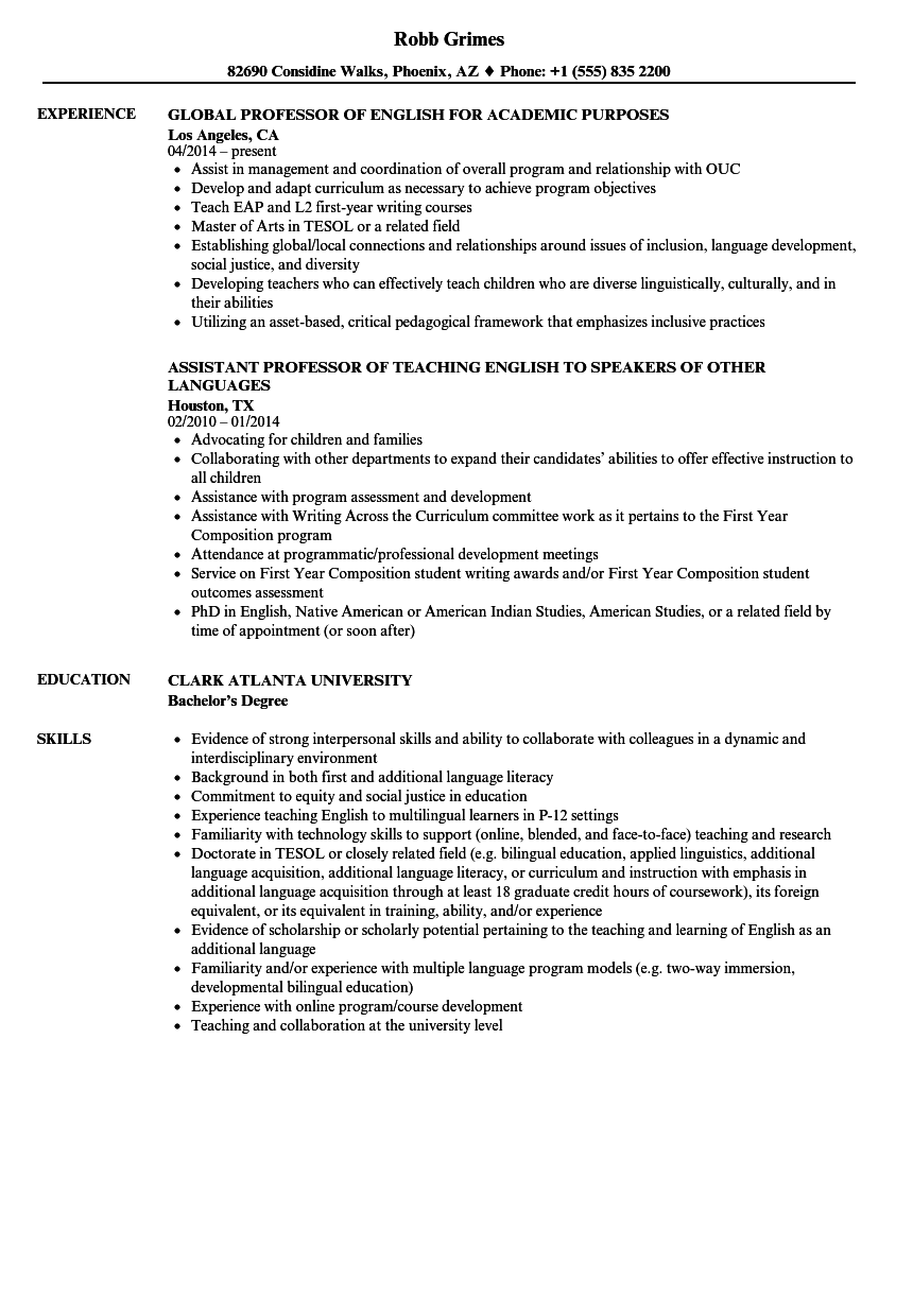 sample resume for assistant professor in english