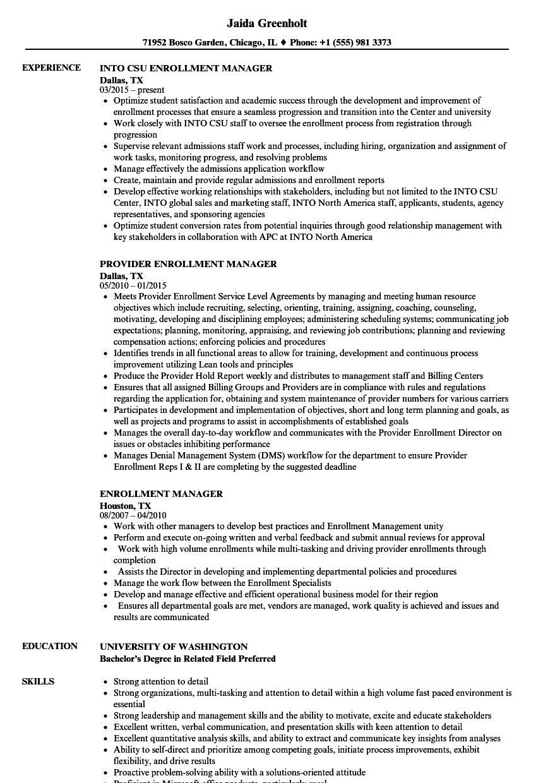 Enrollment Manager Resume Samples | Velvet Jobs