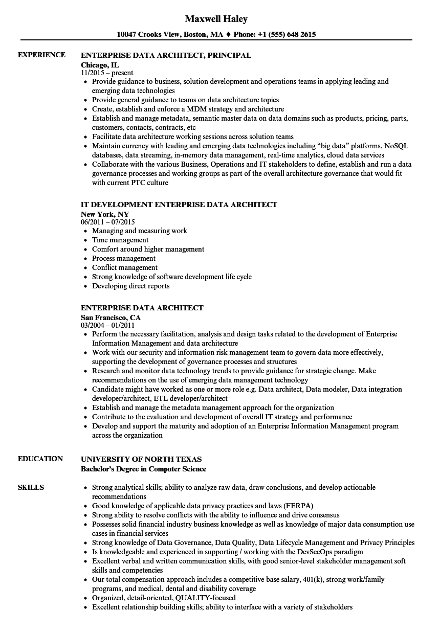 Enterprise Data Architect Resume Samples  Velvet Jobs