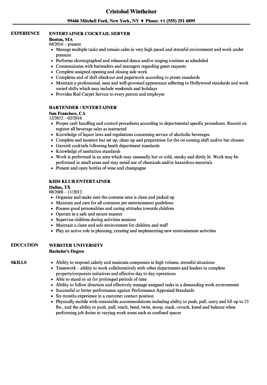 sample resume creative services