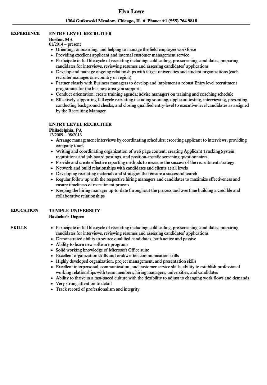 sample resume technical recruiter entry level
