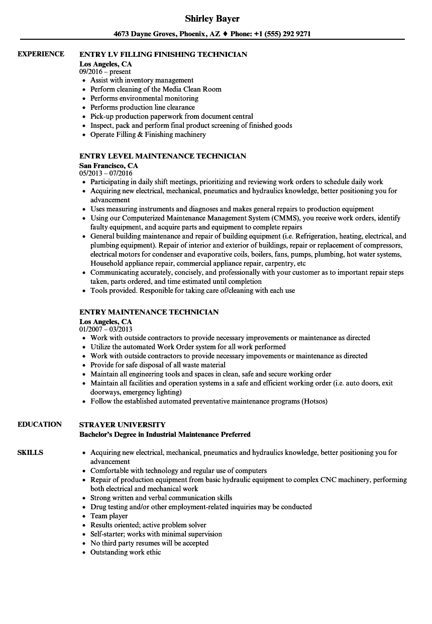 production technician resume examples