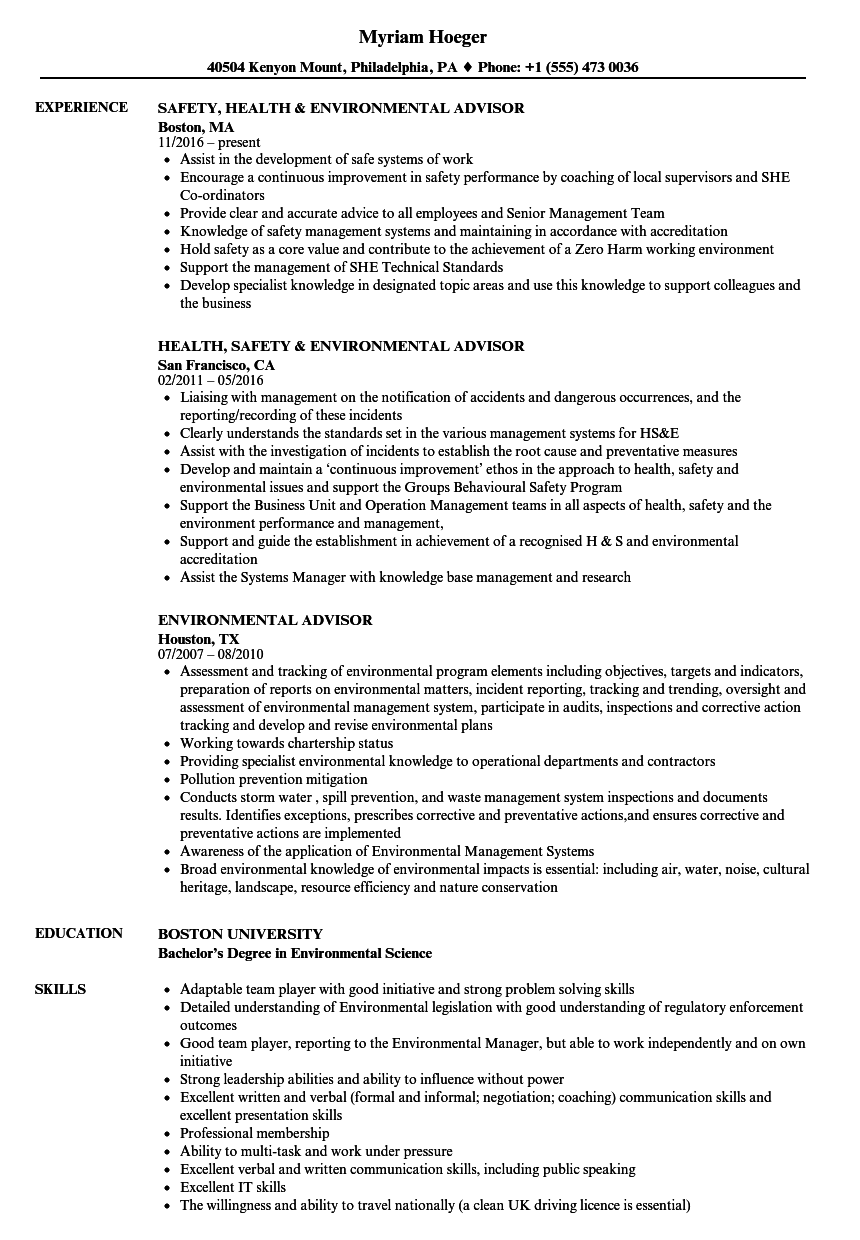 Environmental Advisor Resume Samples Velvet Jobs