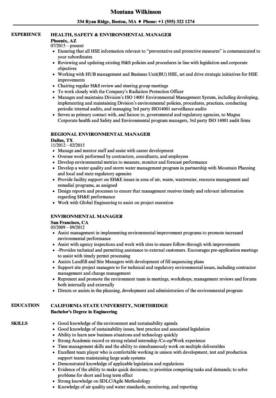 sample resume for environmental degree