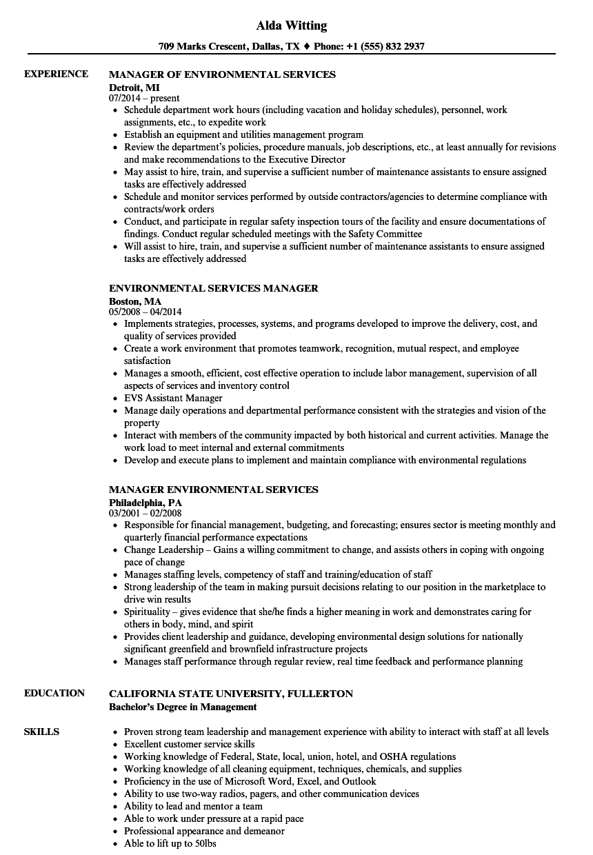 Environmental Manager Resume Top Environment Resume