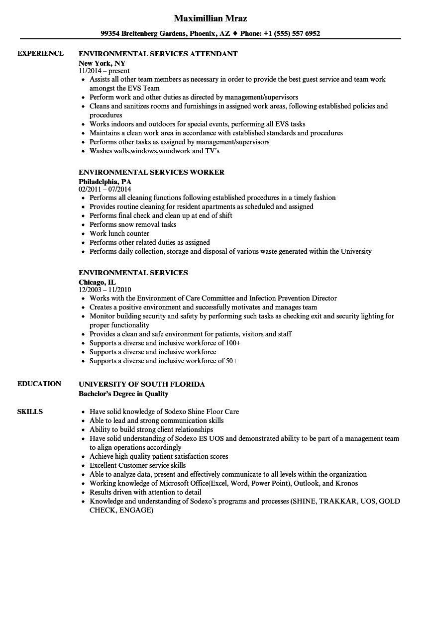 hospital environmental services manager resume sample