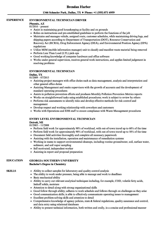 environmental services technician resume sample