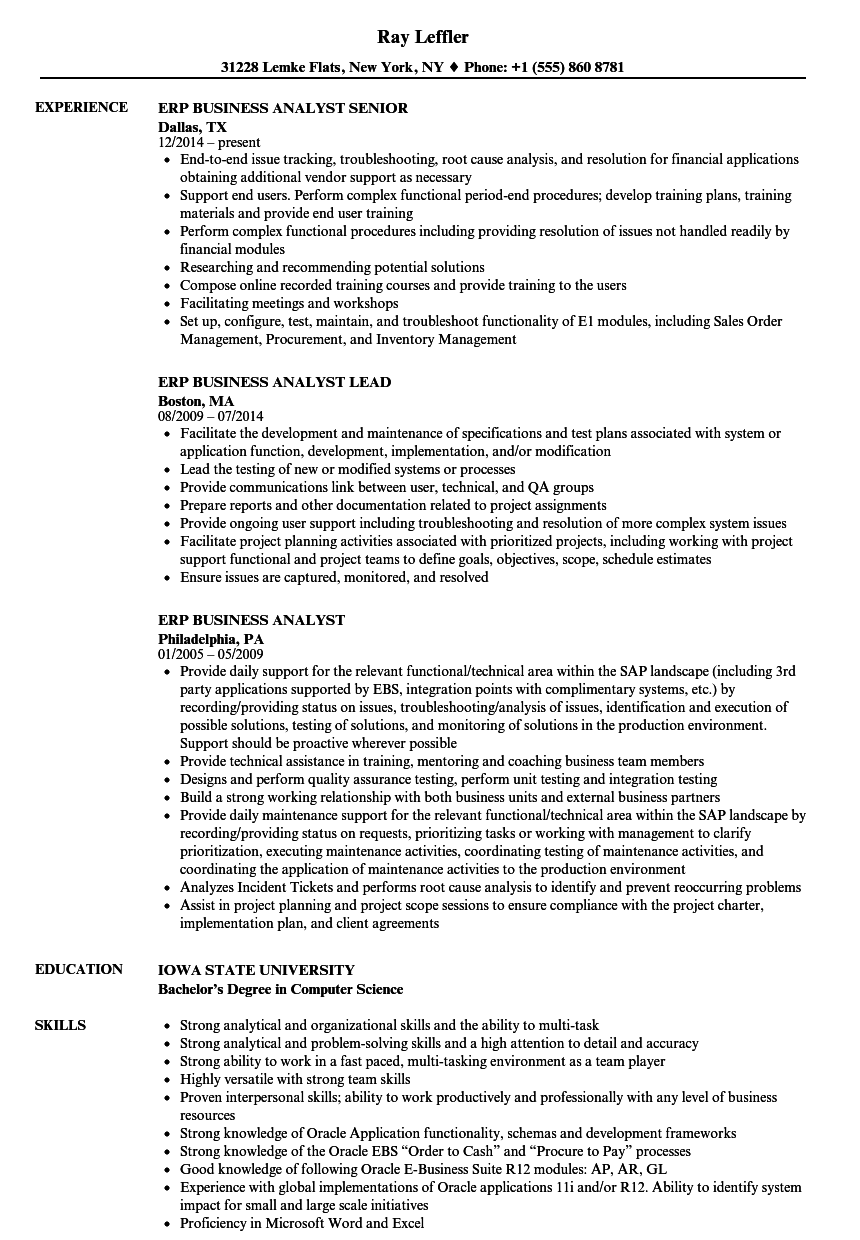 ERP Business Analyst Resume Samples Velvet Jobs