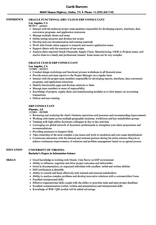 ERP Consultant Resume Samples Velvet Jobs