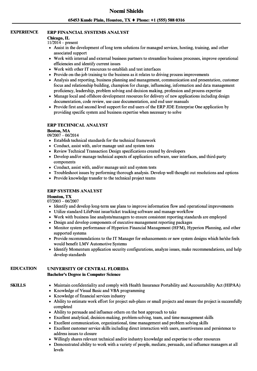 erp resume examples