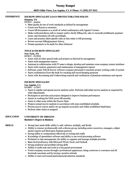Escrow Specialist Resume Samples Velvet Jobs