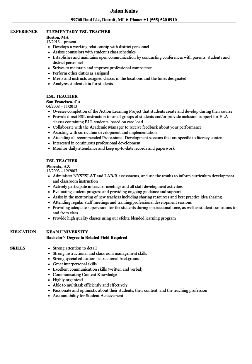 ESL Teacher Resume Samples | Velvet Jobs