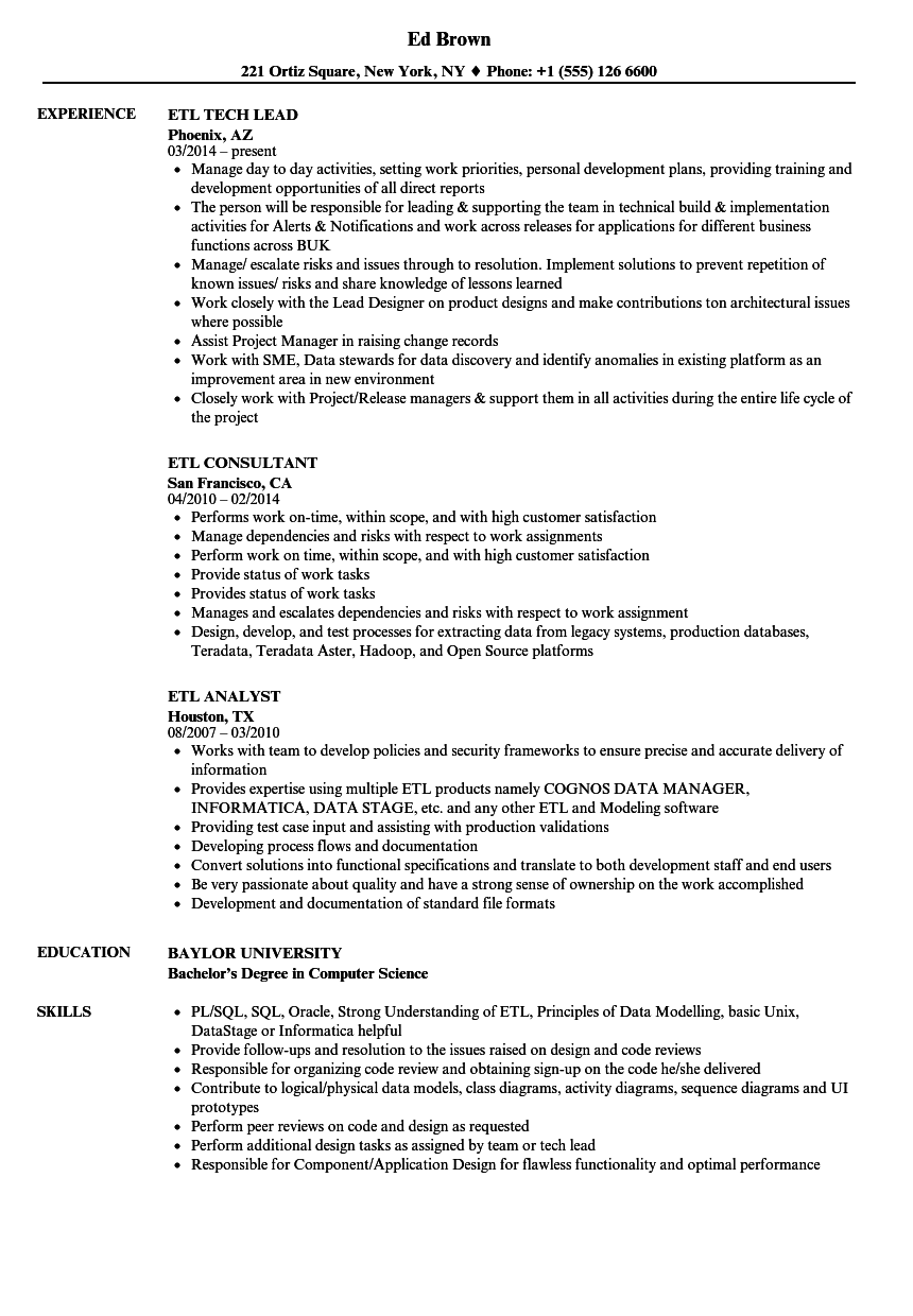 informatica support sample resumes