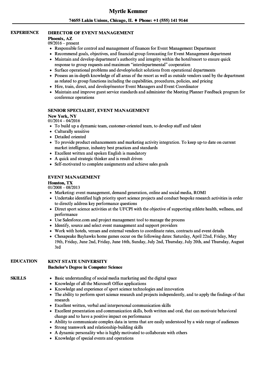 Event Management Resume Samples Velvet Jobs
