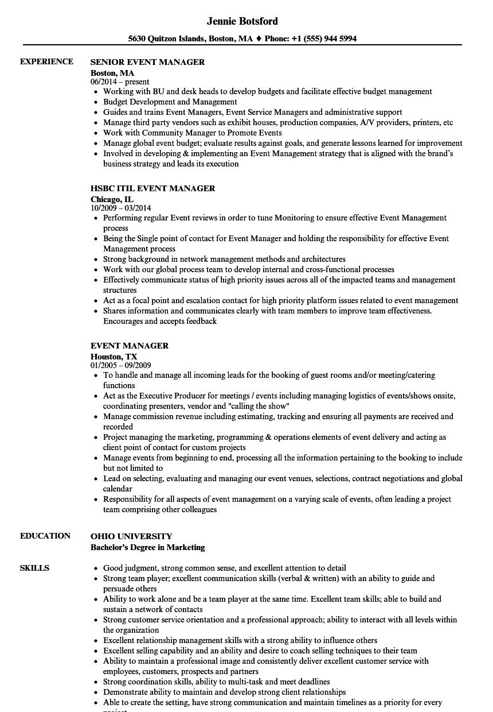 Event Management Skills Resume Event Coordinator Cover