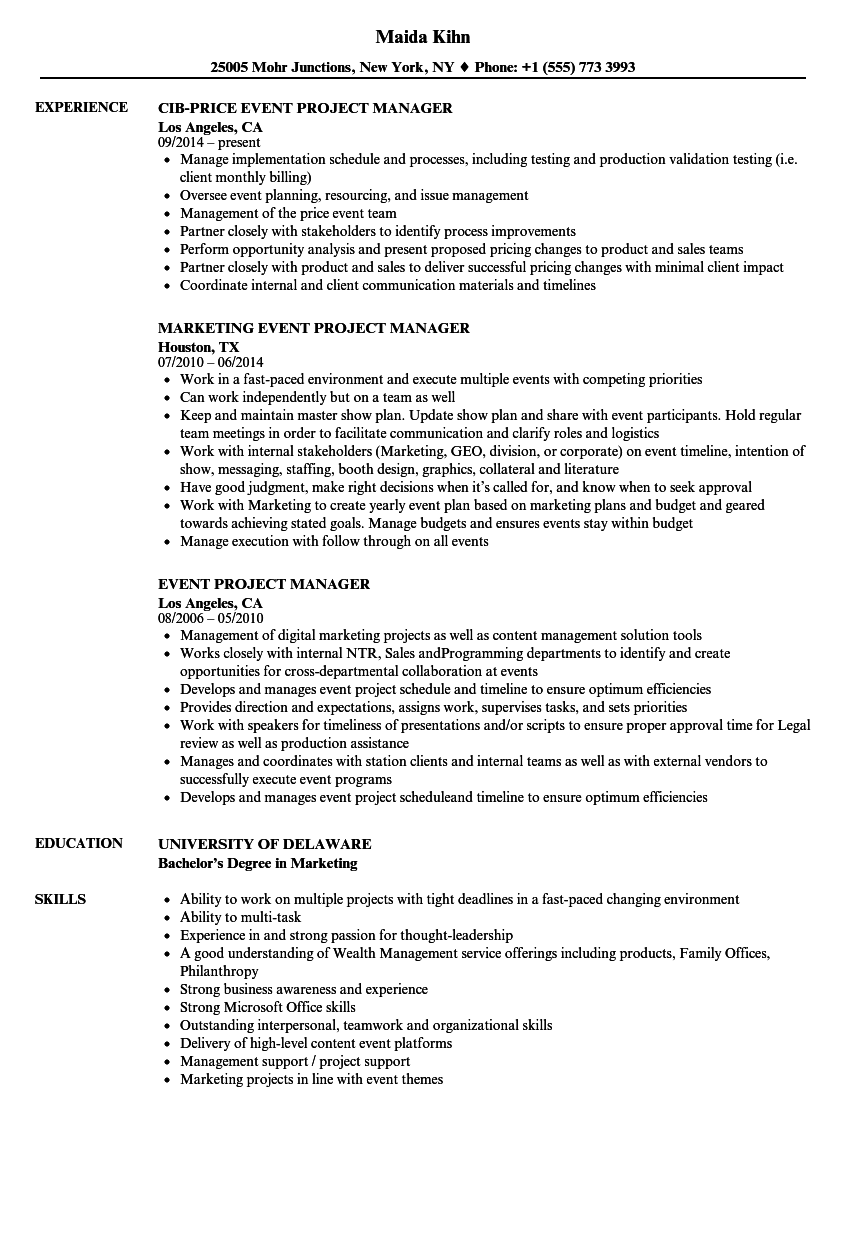 project manager resumes samples