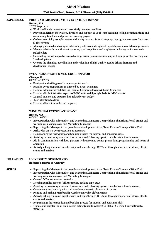 Events Assistant Resume Samples  Velvet Jobs