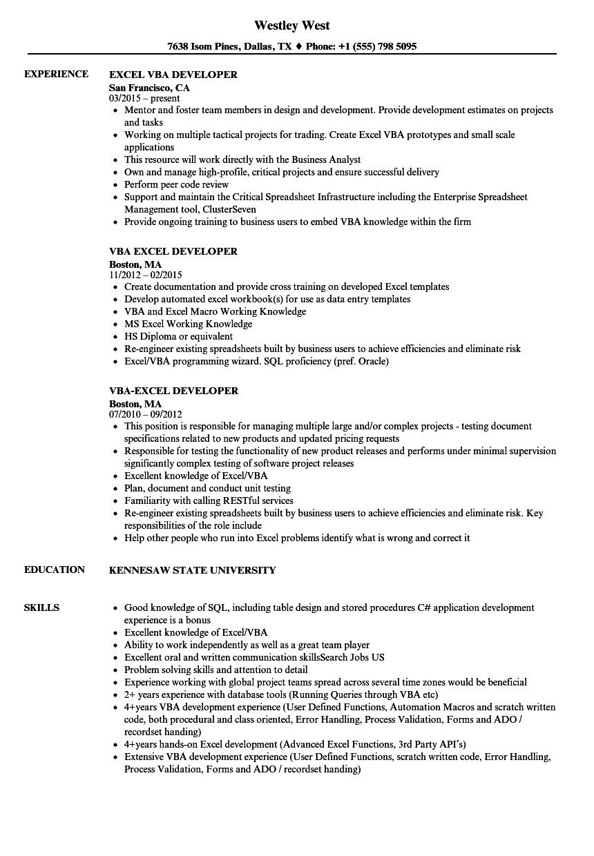 excel vba sample resume
