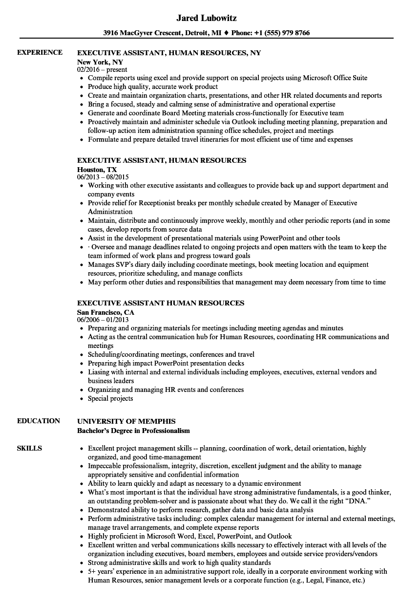 Resume Sample For Executive Assistant ] | Resume Sample For ...