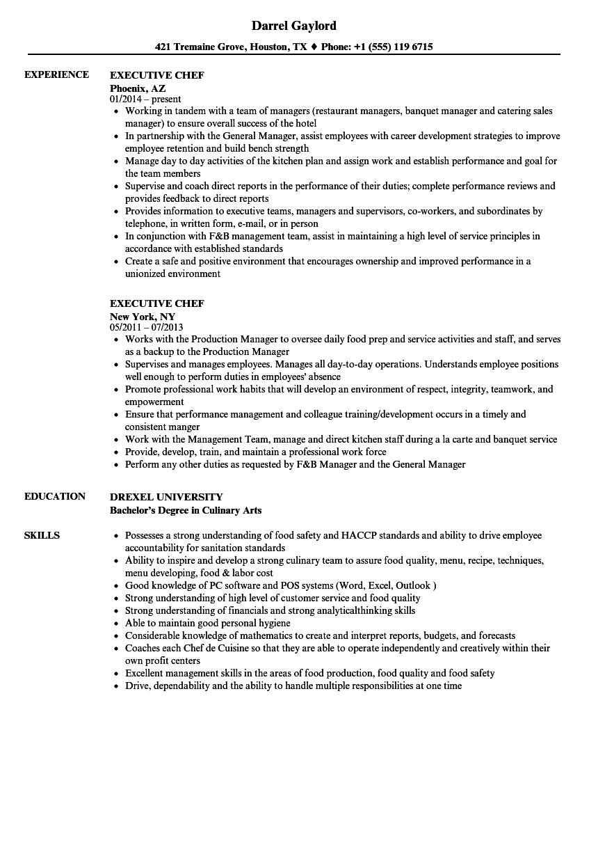 sample resume executive sous chef