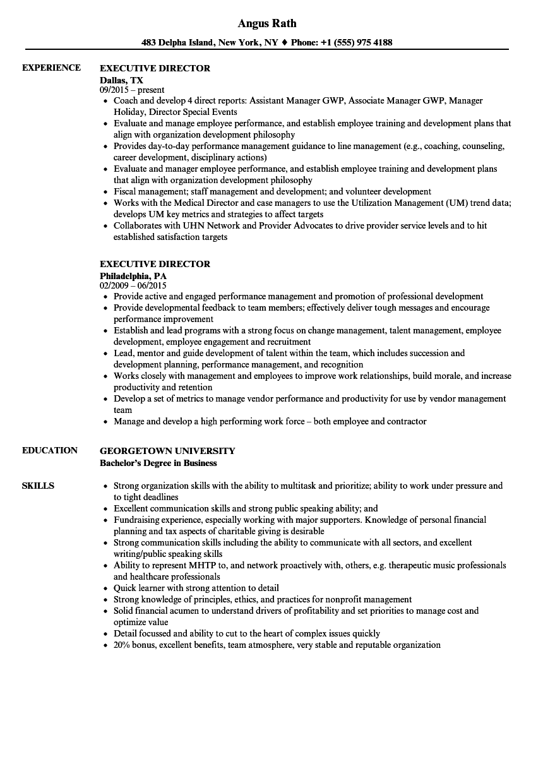 executive director non profit resume template