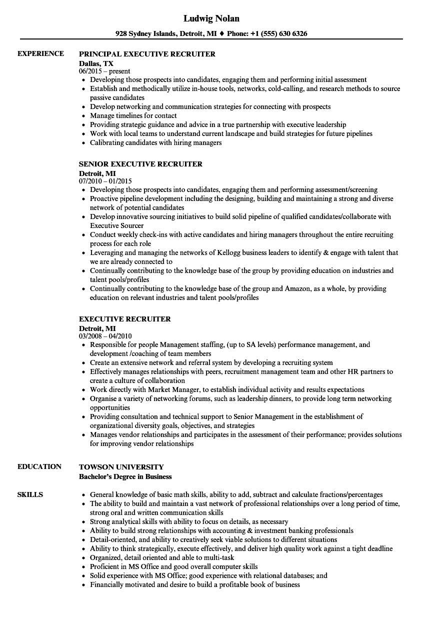 executive recruiter resume examples
