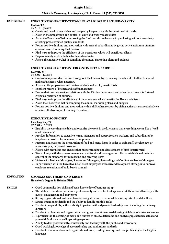 executive sous chef resume sample