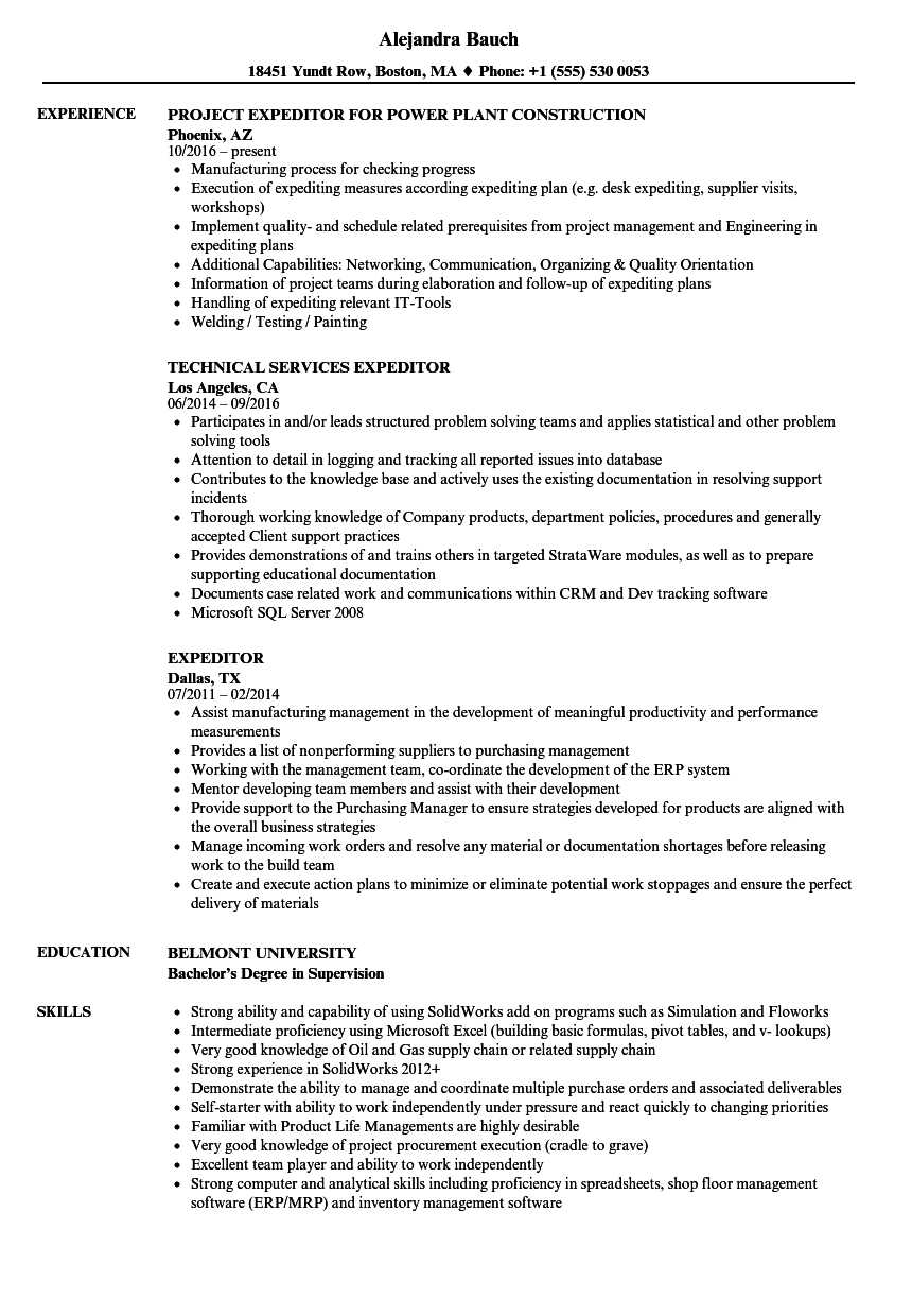 Expeditor Resume Samples  Velvet Jobs