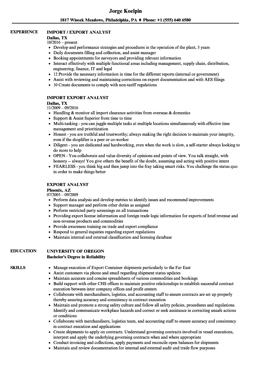 Export Analyst Resume Samples Velvet Jobs