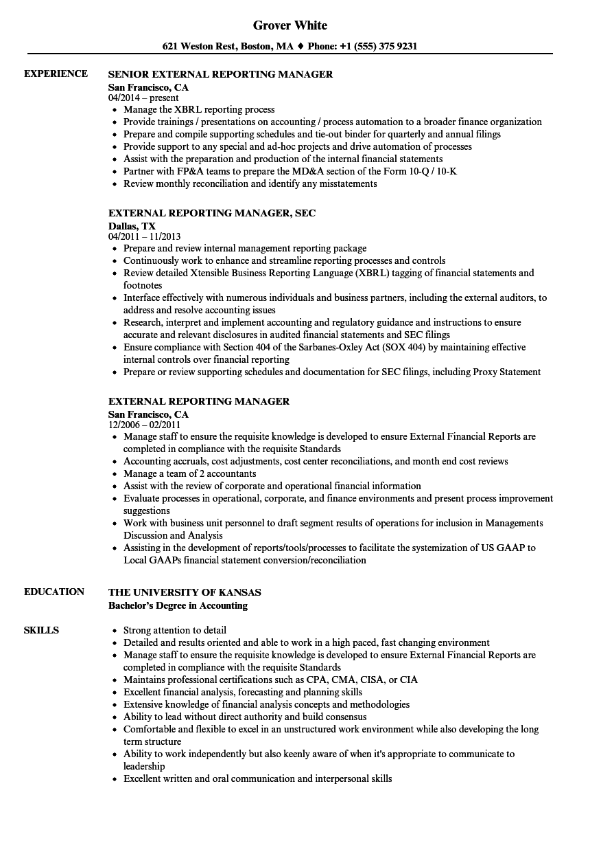 External Reporting Manager Resume Samples Velvet Jobs