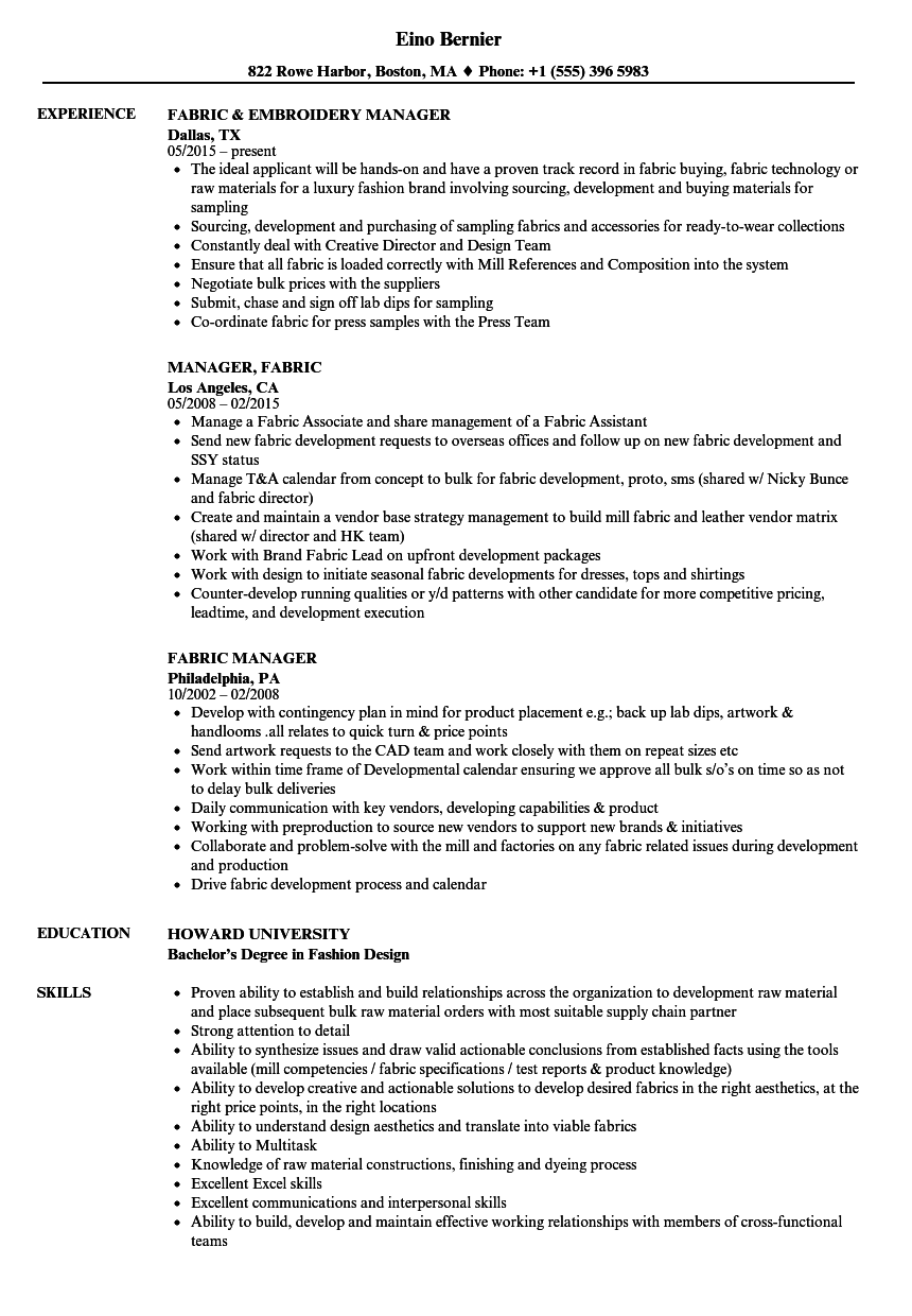 Fabric Manager Resume Samples Velvet Jobs