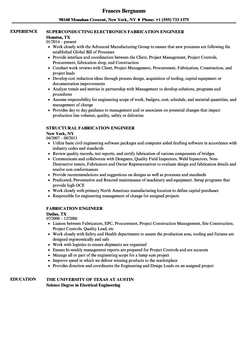 structural steel fabricator resume sample