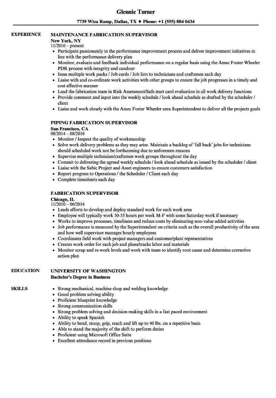 fabrication supervisor resume sample
