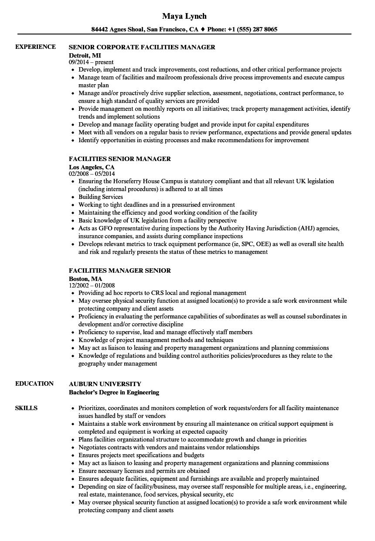Facilities Manager Senior Resume Samples Velvet Jobs