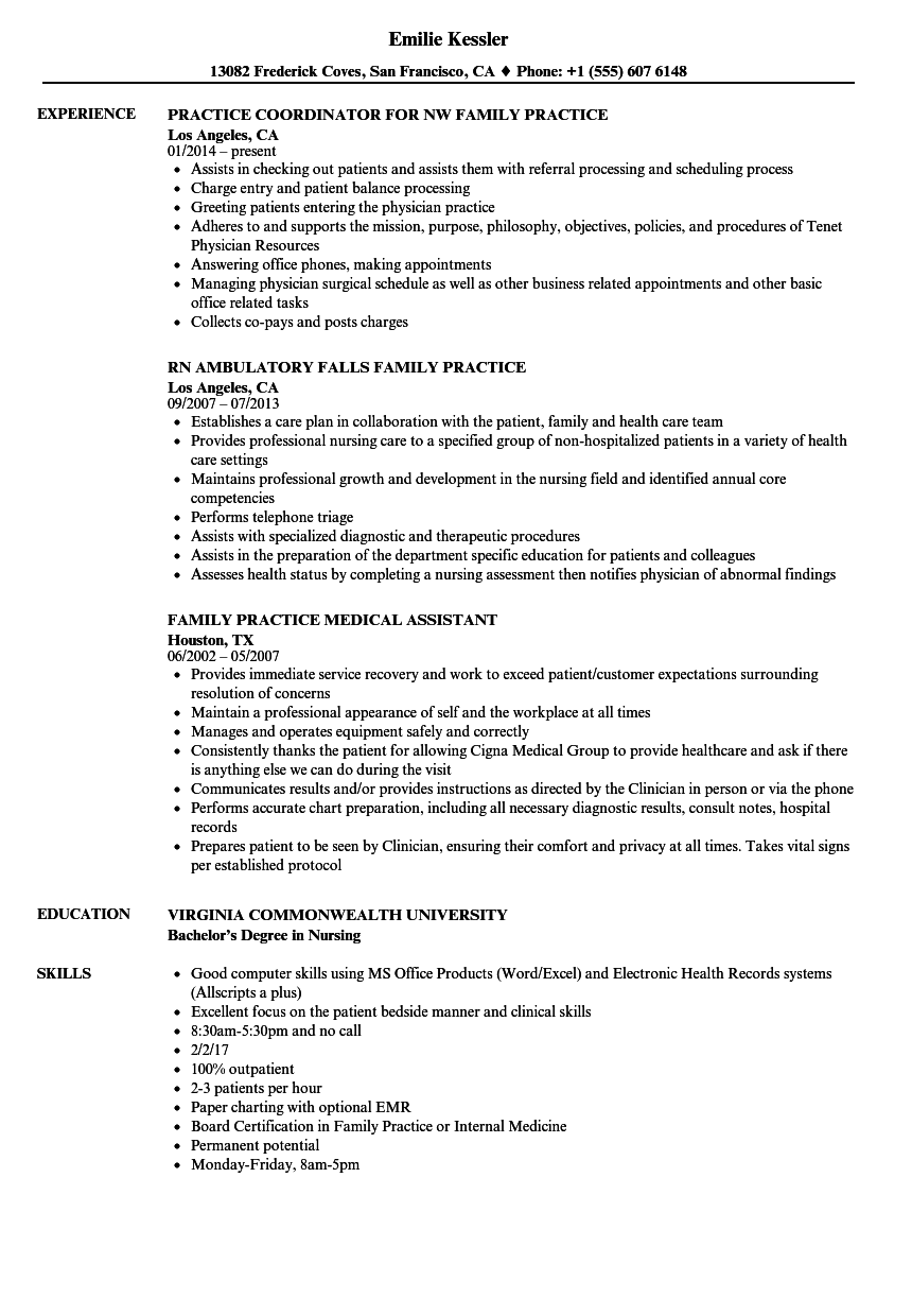 family practice physician resume sample